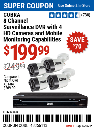 www.hfqpdb.com - COBRA 8 CHANNEL SURVEILLANCE DVD WITH 4 HD CAMERAS AND MOBILE MONITORING CAPABILITIES Lot No. 63890