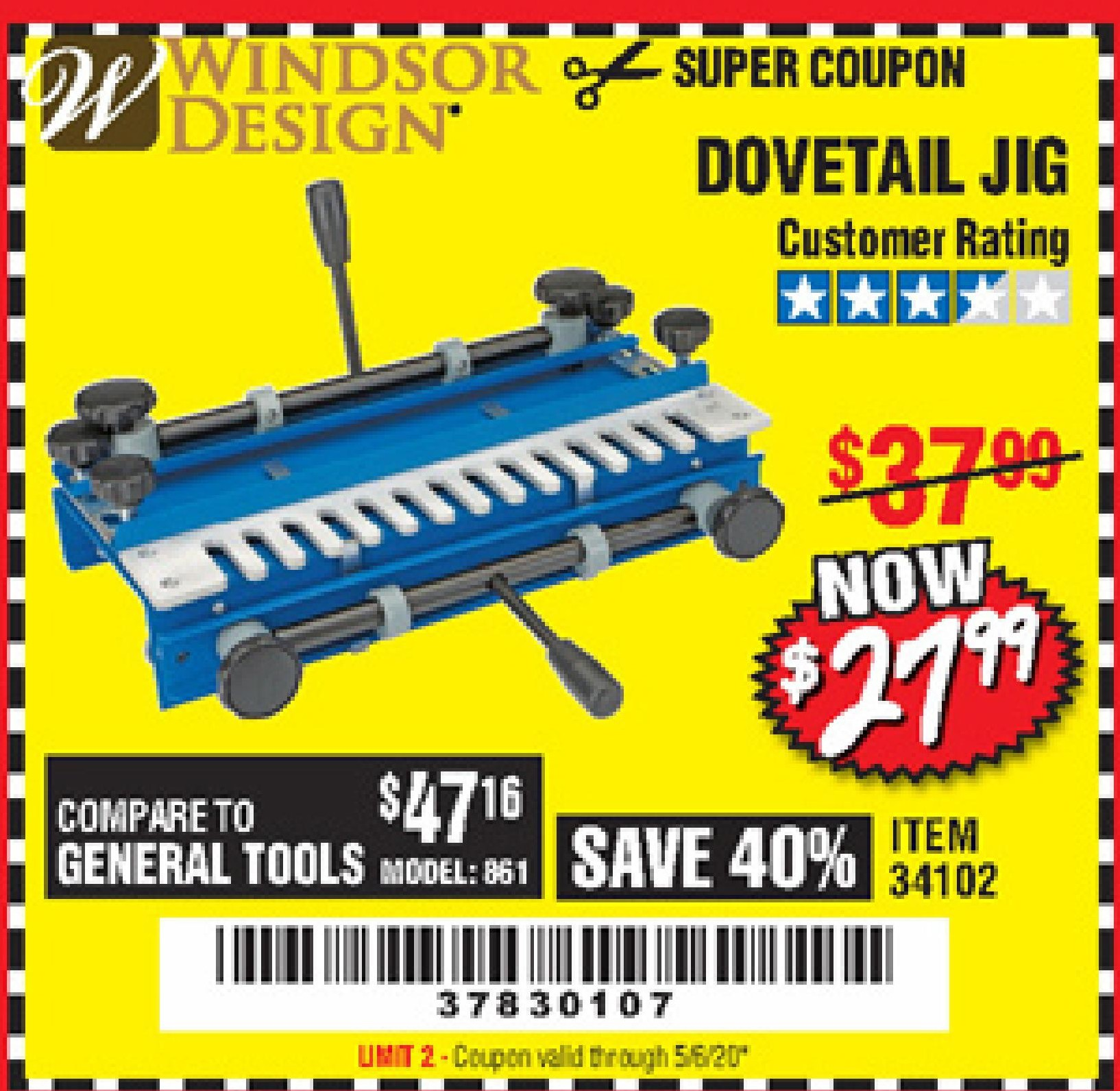 Harbor Freight DOVETAIL JIG / MACHINE coupon