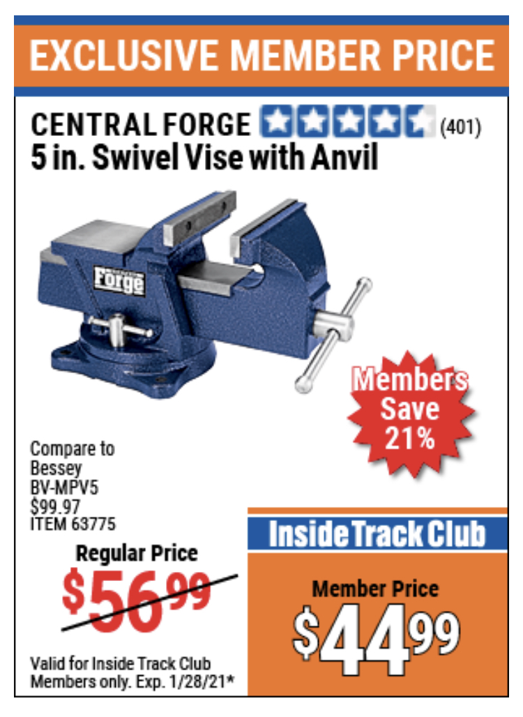 "www.hfqpdb.com - CENTRAL FORGE 5"" SWIVEL VICE WITH ANVIL Lot No. 63775"