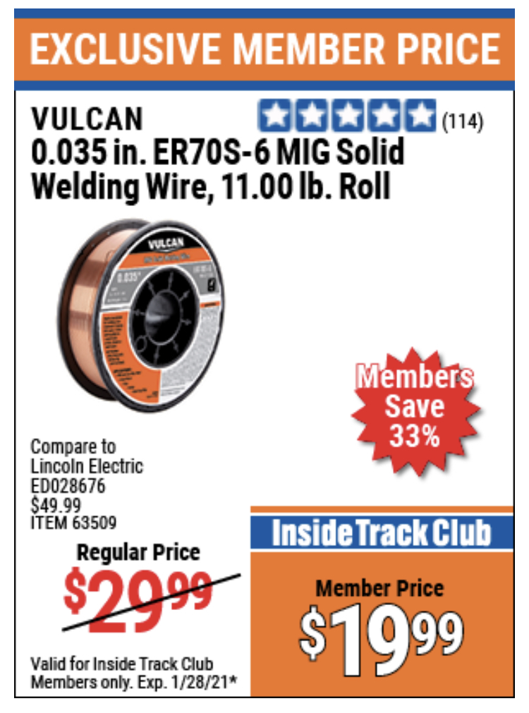 www.hfqpdb.com - VULCAN 0.035 IN. ER70S-6 MIG SOLID WELDING WIRE, 11.0 LB. ROLL Lot No. 63509