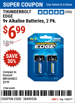 www.hfqpdb.com - THUNDERBOLT EDGE 9V ALKALINE BATTERIES, 2 PK. Lot No. 64493