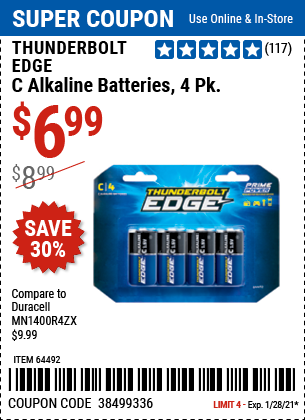 www.hfqpdb.com - THUNDERBOLT EDGE C ALKALINE BATTERIES, 4PK Lot No. 64492