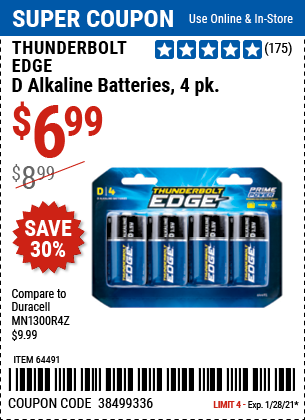 www.hfqpdb.com - THUNDERBOLT EDGE D ALKALINE BATTERIES, 4 PK. Lot No. 64491