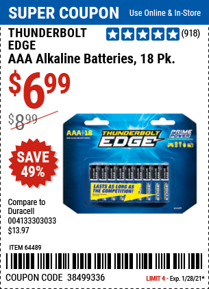 www.hfqpdb.com - THUNDERBOLT EDGE AAA ALKALINE BATTERIES, 18 PK. Lot No. 64489