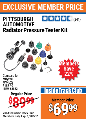Harbor Freight AUTOMOTIVE RADIATOR PRESSURE TESTER KIT coupon