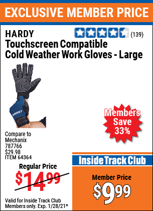 Harbor Freight TOUCHSCREEN COMPATIBLE COLD WEATHER WORK GLOVES - LARGE coupon