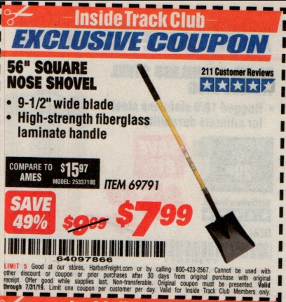 "www.hfqpdb.com - 56"" SQUARE NOSE SHOVEL Lot No. 69791/3986"