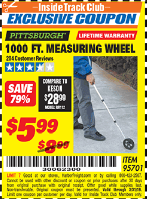 Harbor Freight 1000 FT. MEASURING WHEEL coupon