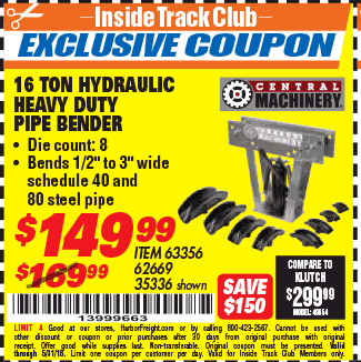 Harbor Freight ITC Coupon 16 TON HYDRAULIC PIPE BENDER Lot No. 35336/62669 Expired ITC 16 TON HYDRAULIC PIPE BENDER Lot No. 35336/62669 Expired 5/31/18 ...  sc 1 st  Harbor Freight Tools Coupon Database & Harbor Freight Tools Coupon Database - Free coupons 25 percent off ...