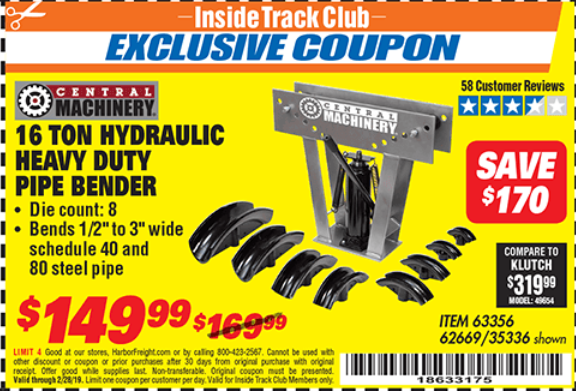 Harbor Freight 16 TON HYDRAULIC PIPE BENDER coupon