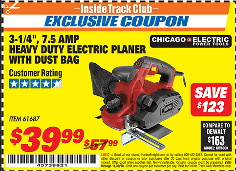 """www.hfqpdb.com - 3-1/4"""" HEAVY DUTY ELECTRIC PLANER WITH DUST BAG Lot No. 61393/95838/61687"""