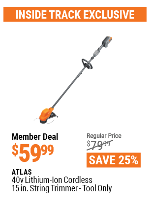 Harbor Freight ATLAS 40V LITHIUM-ION CORDLESS 15 IN. STRING TRIMMER - TOOL ONLY coupon