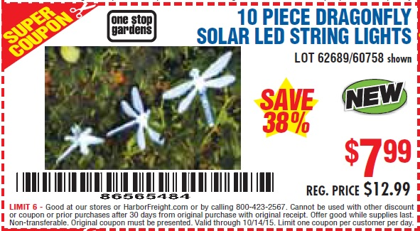 Harbor Freight Coupon 10 PIECE DRAGONFLY SOLAR LED STRING LIGHTS Lot No. 60758/62689 Valid Thru ...
