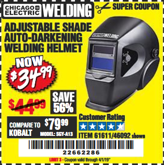 www.hfqpdb.com - ADJUSTABLE SHADE AUTO-DARKENING WELDING HELMET Lot No. 46092/61611