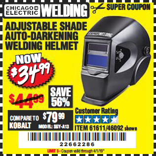 Harbor Freight ADJUSTABLE SHADE AUTO-DARKENING WELDING HELMET coupon