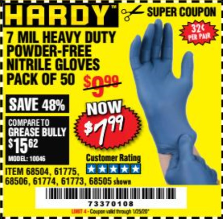 Harbor Freight POWDER-FREE HEAVY DUTY NITRILE GLOVES PACK OF 50 coupon