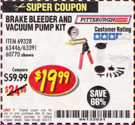 Harbor Freight BRAKE BLEEDER AND VACUUM PUMP KIT coupon