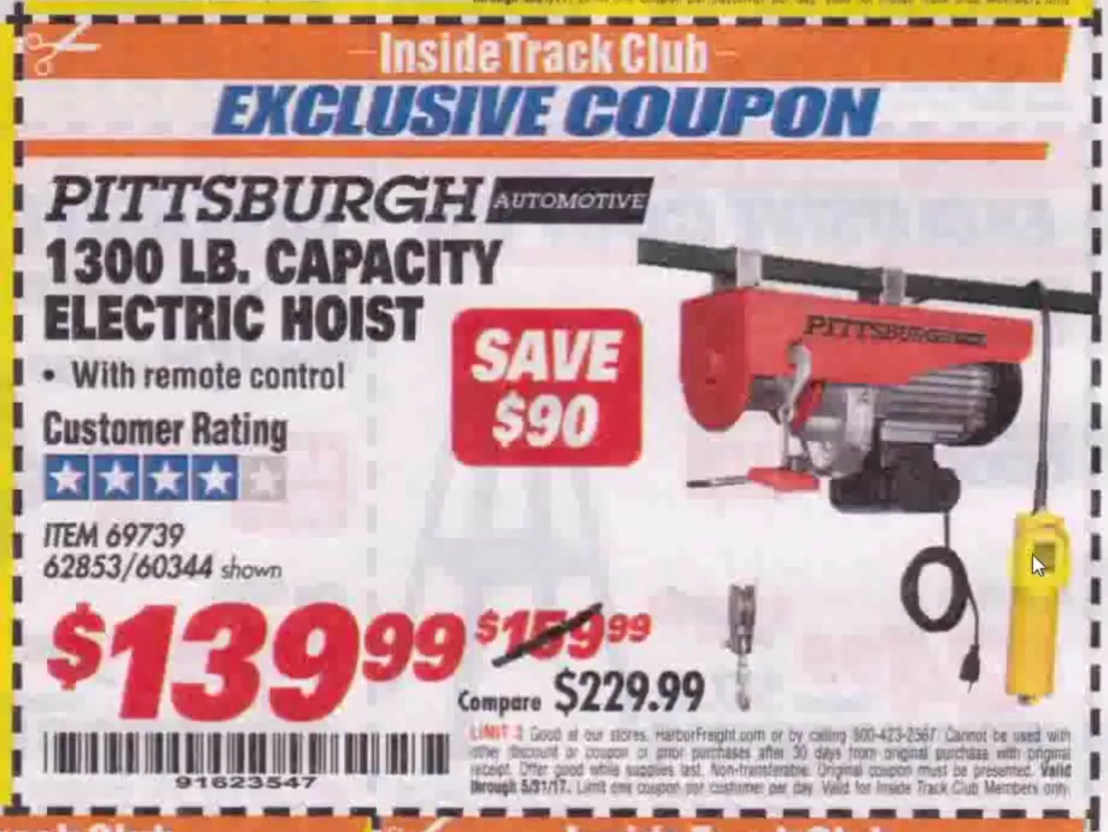 Itc Lb Capacity Electric Hoist With Remote Control on Harbor Freight Electric Hoist With Remote Control