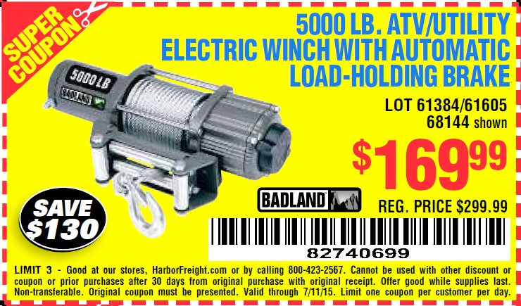 Harbor freight winch coupons