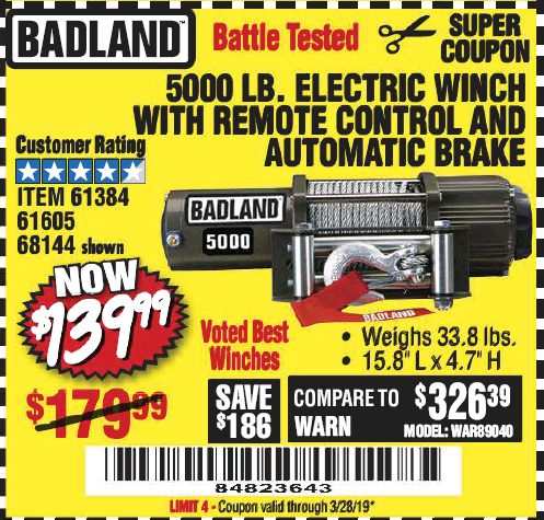 Harbor Freight 5000 LB. ELECTRIC WINCH WITH REMOTE CONTROL AND AUTOMATIC BRAKE coupon