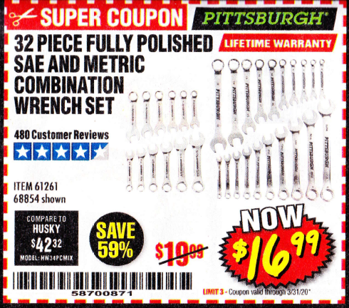 Harbor Freight 32 PIECE FULLY POLISHED SAE & METRIC COMBINATION WRENCH SET coupon