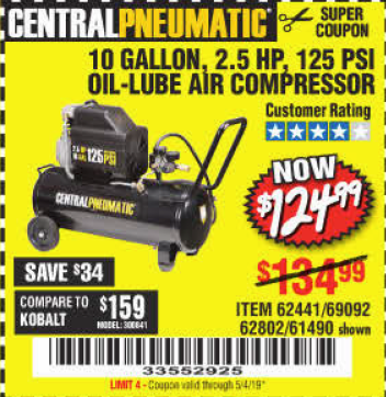 www.hfqpdb.com - 2.5 HP, 10 GALLON, 125 PSI OIL LUBE AIR COMPRESSOR Lot No. 69092/67708/61490/62441