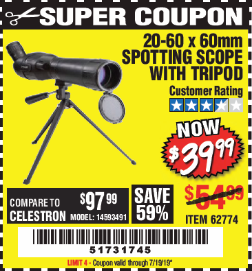 Harbor Freight 20-60 x 60mm SPOTTING SCOPE WITH TRIPOD coupon