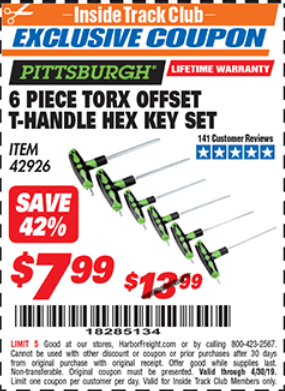 Harbor Freight 6 PIECE TORX OFFSET T-HANDLE HEX KEY SET coupon