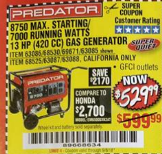 Harbor Freight 8750 PEAK / 7000 RUNNING WATTS 13 HP (420 CC) GAS GENERATOR coupon