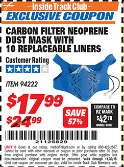 www.hfqpdb.com - CARBON FILTER NEOPRENE DUST MASK WITH REPLACEABLE LINERS Lot No. 94222