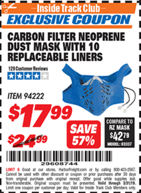 Harbor Freight CARBON FILTER NEOPRENE DUST MASK WITH REPLACEABLE LINERS coupon