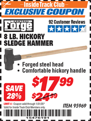Harbor Freight 8 LB. HICKORY SLEDGE HAMMER coupon