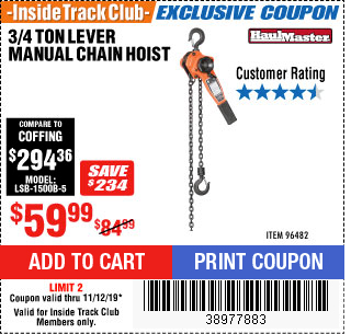 Harbor Freight 3/4 TON LEVER CHAIN HOIST coupon