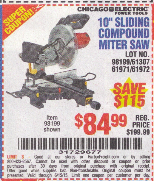 Harbor freight miter saw coupon 2018