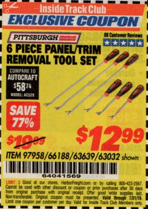 www.hfqpdb.com - 6 PIECE PANEL/TRIM REMOVAL TOOL SET Lot No. 66188