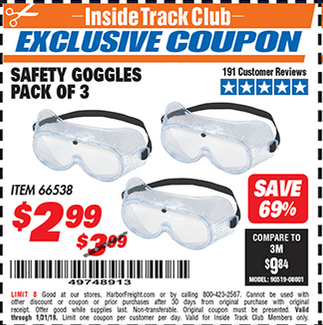 www.hfqpdb.com - SAFETY GOGGLES PACK OF 3 Lot No. 66538