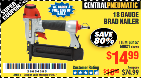 Harbor Freight 18 Gauge Brad Nailer coupon