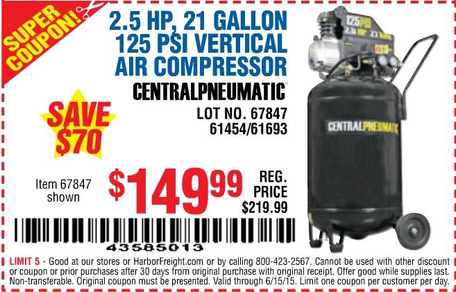 harbor freight 21 gallon air compressor super coupon : mobilezap.com ...