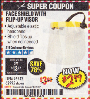 Harbor Freight FACE SHIELD WITH FLIP-UP VISOR coupon