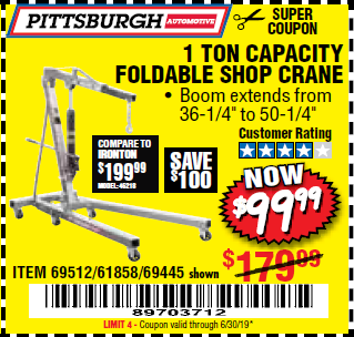 www.hfqpdb.com - 1 TON CAPACITY FOLDABLE SHOP CRANE Lot No. 69445/69512/61858/93840