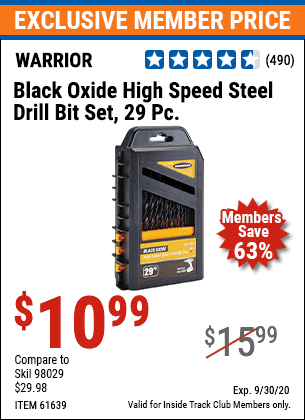 Harbor Freight WARRIOR 29 PIECE BLACK OXIDE STEEL DRILL BIT SET coupon