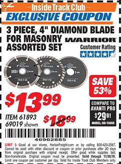 """www.hfqpdb.com - 3 PIECE 4"""" ASSORTED DIAMOND BLADES FOR MASONRY Lot No. 61893/69019"""