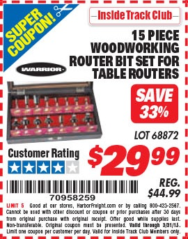 Harbor freight tools coupon database free coupons 25 percent off harbor freight itc coupon 15 piece woodworking router bit set for table routers lot no itc 15 piece woodworking router bit set for table routers lot no greentooth Choice Image