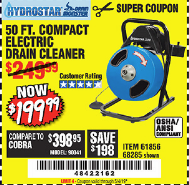 Harbor Freight 50 FT. ELECTRIC DRAIN CLEANER coupon