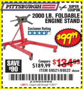 Harbor Freight 2000 LB. FOLDABLE ENGINE STAND coupon