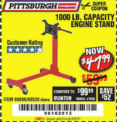 Harbor Freight 1000 LB. CAPACITY ENGINE STAND coupon