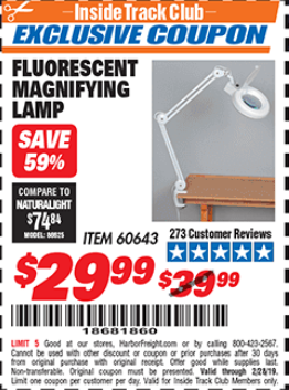 Harbor Freight FLUORESCENT MAGNIFYING LAMP coupon