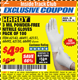 www.hfqpdb.com - POWDER-FREE NITRILE GLOVES PACK OF 100 3 MIL. THICKNESS Lot No. 68490/62143/68491/62151/68492/62150