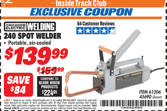 Harbor Freight 240 VOLT SPOT WELDER coupon