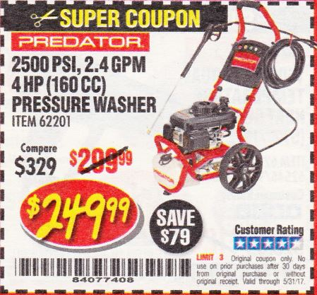 Harbor Freight 2500 PSI, 2.4 GPM 4 HP (160 CC) PRESSURE WASHER coupon